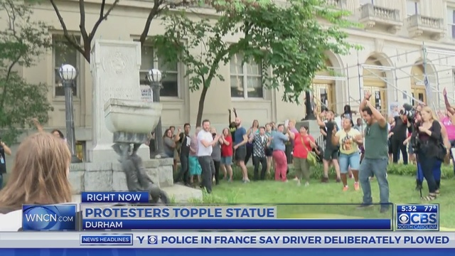 Protesters Pull Down Confederate Statue At Old Durham County Courthouse