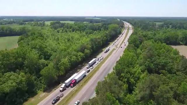 DRONE VIDEO: Backups on I-95 after fatal collision