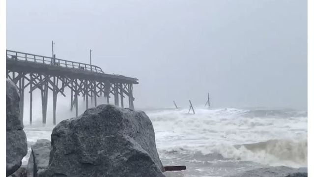 Section of Carolina Beach Fishing Pier destroyed by Florence