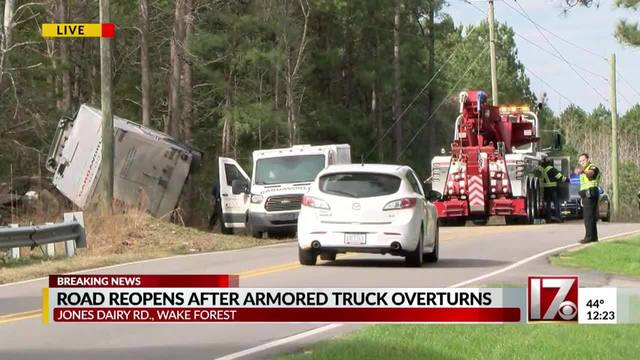 Road in Wake Forest reopens after armored truck flips
