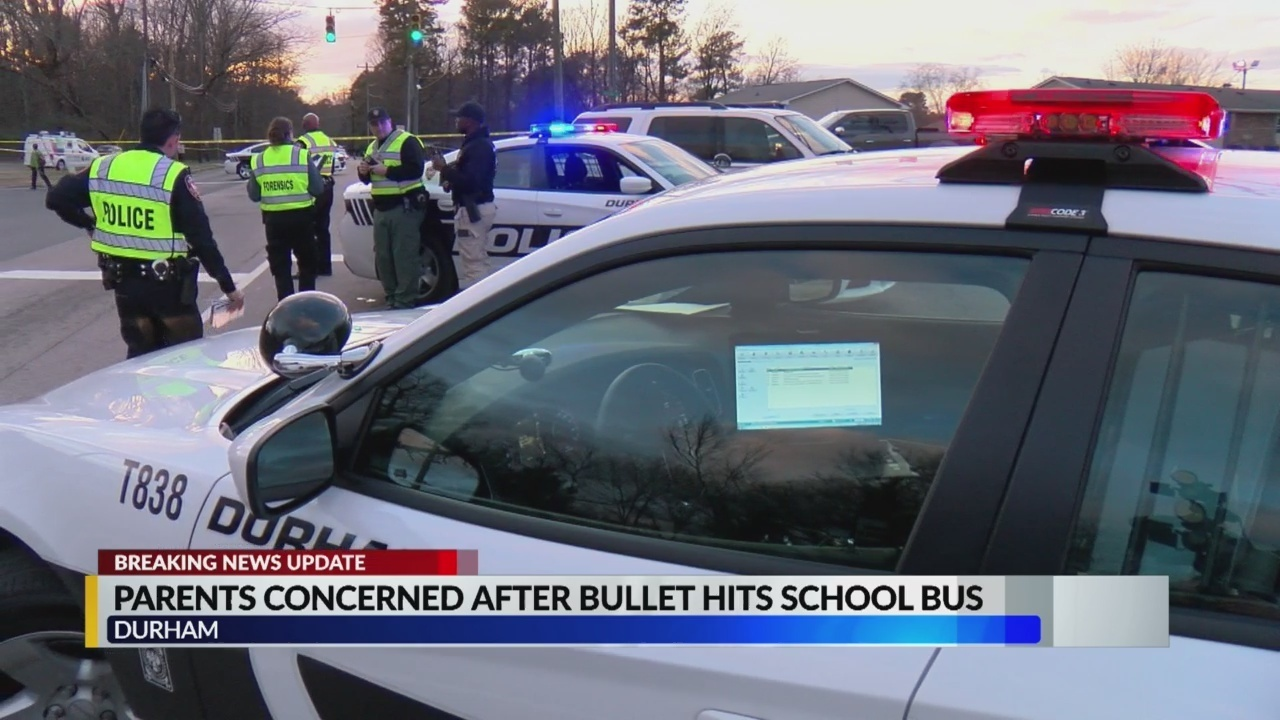 """Durham mother says """"It's too dangerous, it's not safe"""" after the school bus got hit by the bullet - CBS17.com"""