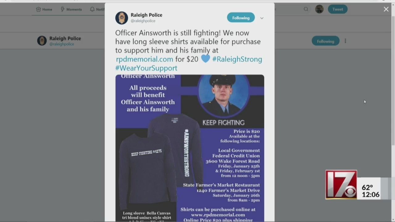 Raleigh police selling shirts to benefit shot officer, family
