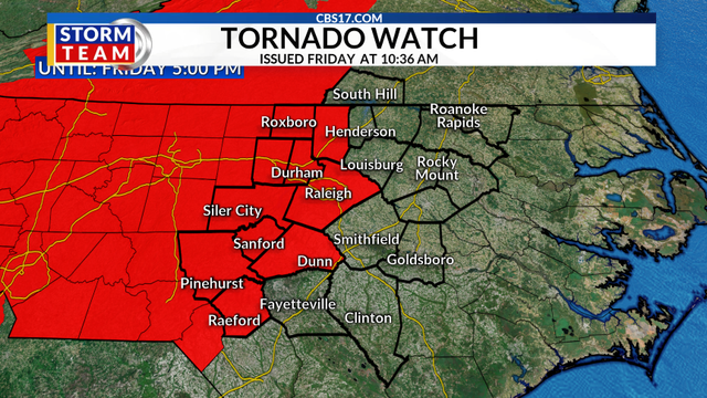 Tornado watch issued for 46 North Carolina counties until 5 p.m.